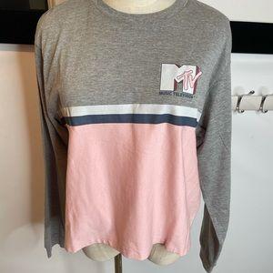 Mtv S tee long sleeve gray Pink tahirt loungewear